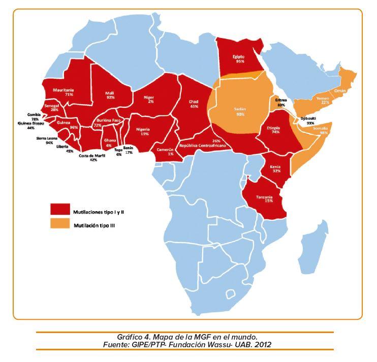 Mapa MGF en Africa (2012) Fuente: GIPE/PTP-Fundacion Wassu-UAB.